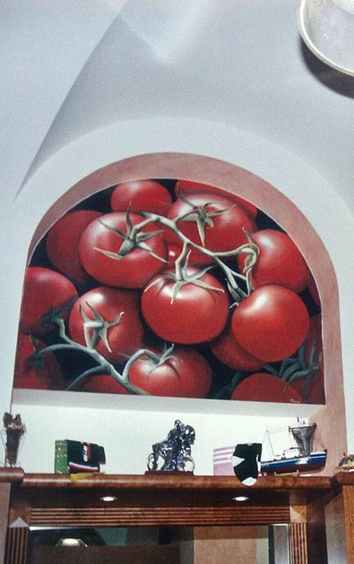 """Trompe l'oeil """"Pomodori giganti"""" da Pizza e Cozze a Torino"""