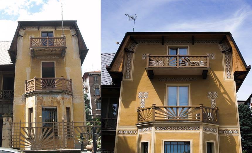 Restauro facciate dipinte in Torino centro