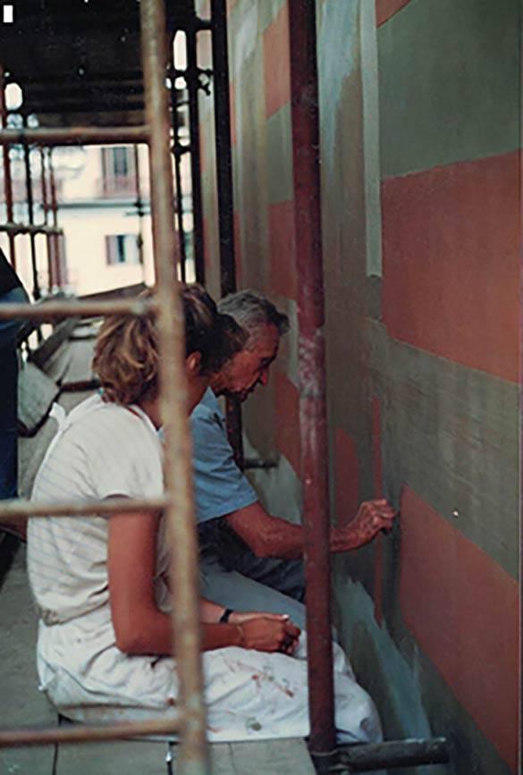Restauro facciate dipinte a Rivoli 1988